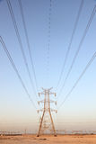 Power line in Qatar Stock Photo