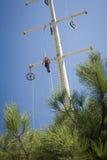 Power line repair Stock Photos