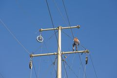 Power line repair Stock Photography
