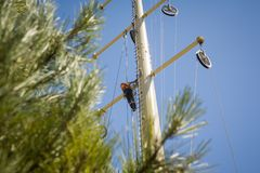 Power line repair Stock Photo