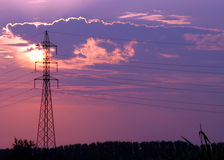 Power line silhouette Stock Photo