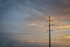 Power line silhouette Stock Photos