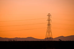Power line sillouette Royalty Free Stock Photos
