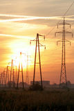 Power line sunrise Royalty Free Stock Photography