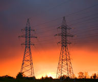 Power line at sunset Stock Image