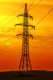 Power line at sunset Royalty Free Stock Photos