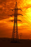 Power line at sunset Stock Photo