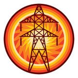 Power line symbol. Silhouette of power line and electric pylon, electric transmission line sign, power line badge Royalty Free Stock Photos
