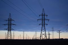 Power line technology voltage electrecity transmission. Power line technology voltage electrecity transmission landscape energy royalty free stock photos