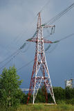 Power line tower. Single power line tower on the stormy sky background Stock Photography