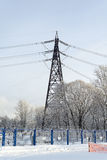 Power line. The tower transmits electricity in the house Stock Photo