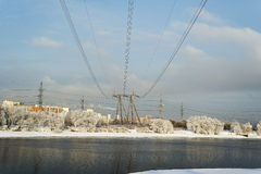 Power line. The tower transmits electricity in the house Stock Images