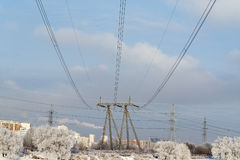 Power line. The tower transmits electricity in the house Stock Image