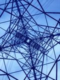 Power line tower viewed from above. Geometrical structure. Energy distribution. Power line tower viewed from above. Geometrical structure. Energy transmission royalty free stock photography