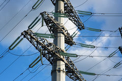 The power line tower. With wires and insulators royalty free stock photo