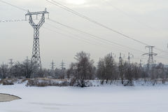 Power line. Tower wiring electricity for homes Stock Photo