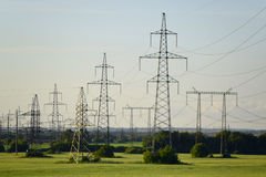 The power line towers with wires Stock Photos
