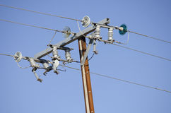 Power line and transformer detail Stock Photo