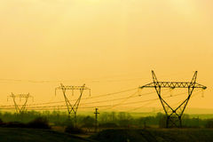 Power line transmission towers Royalty Free Stock Photo