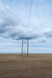 Power line under Clouds Stock Photography