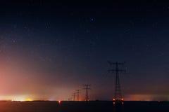 Power line under the stars. Georgia Svaneti Europe Royalty Free Stock Photos