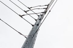 Power line union on a steel tower royalty free stock photography