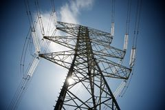 Power line view. Power line in Zaragoza province, Aragon, Spain stock image