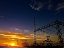 The power line is the way to transfer the power of power plants.  stock photography