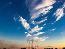 The power line is the way to transfer the power of power plants.  royalty free stock photo