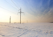 Power line. Winter Royalty Free Stock Image