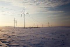Power line. Winter Stock Image