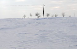 Power line in winter landscape. Power line in winter cold day in Poland stock image
