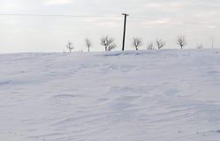 Power line in winter landscape Stock Image