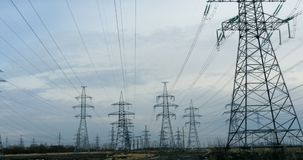Power line wires. Panorama from left to right stock video footage
