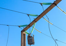 Power line wiring and insulators system Stock Image