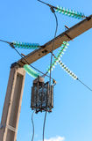 Power line wiring and insulators system Stock Photos