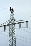 Power line workers Royalty Free Stock Image