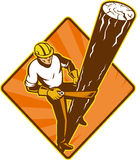 Power lineman electrician repairman. Illustration of a power lineman electrician repairman worker at work climbing electric utility pole set inside diamond on Royalty Free Stock Photos