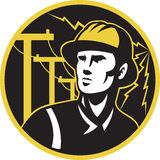 Power lineman electrician repairman pole Royalty Free Stock Image