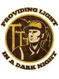 Power lineman electrician repairman pole Royalty Free Stock Image