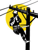 Power lineman on a pole Stock Photos