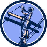 Power Lineman Repairman Climb Pole Retro Circle. Illustration of a power lineman telephone repairman worker clmbing electric pole post repairing power cable done Stock Photography