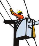 Power lineman at work Stock Photography