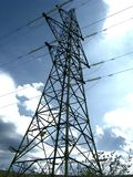 Power Lines. Telephone pilon. A slight amount of grain on the sky area Stock Images