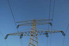 Power lines. With blue sky stock photography