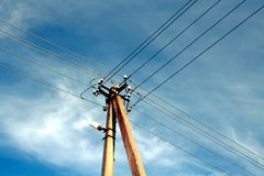 Power lines 1. Power lines on sky background Royalty Free Stock Images