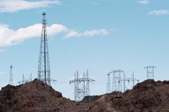 Power lines 10. Power lines at Hoover Dam located on the Colorado River between Nevada and Arizona Stock Photography