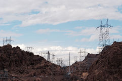 Power lines 11. Power lines at Hoover Dam located on the Colorado River between Nevada and Arizona Royalty Free Stock Photo