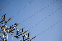 Power lines. With the sky as a background Stock Photos