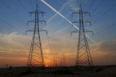 Power lines. High voltage cables in Dubai Royalty Free Stock Photography